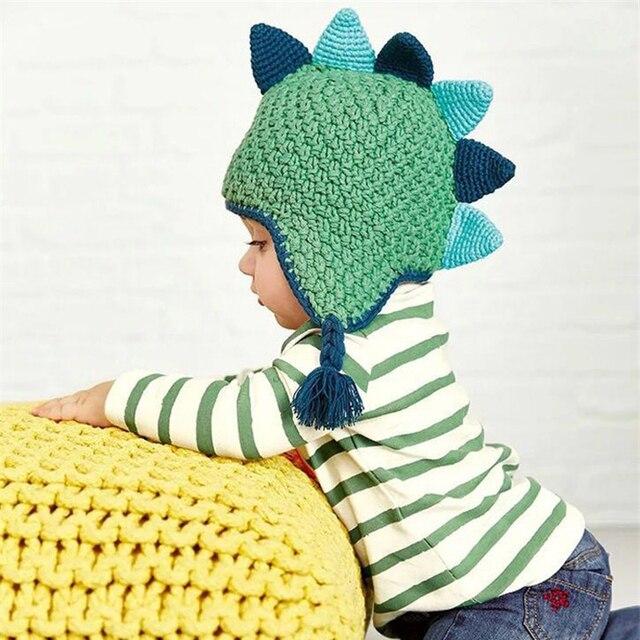 af5e4c14041a Tricoté Coton Chapeau Nouveau-Né Bébé Chapeau Dinosaure Garçon Cap Toddler  Fille Animal Style Chaud