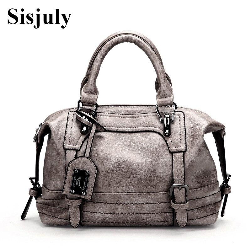 SISJULY Famous Designer Boston Handbag Women Large Capacity Tote Crossbody Bag Ladies Designer Pu Leather Women Bags Female Sac sisjuly фуксин xxxl
