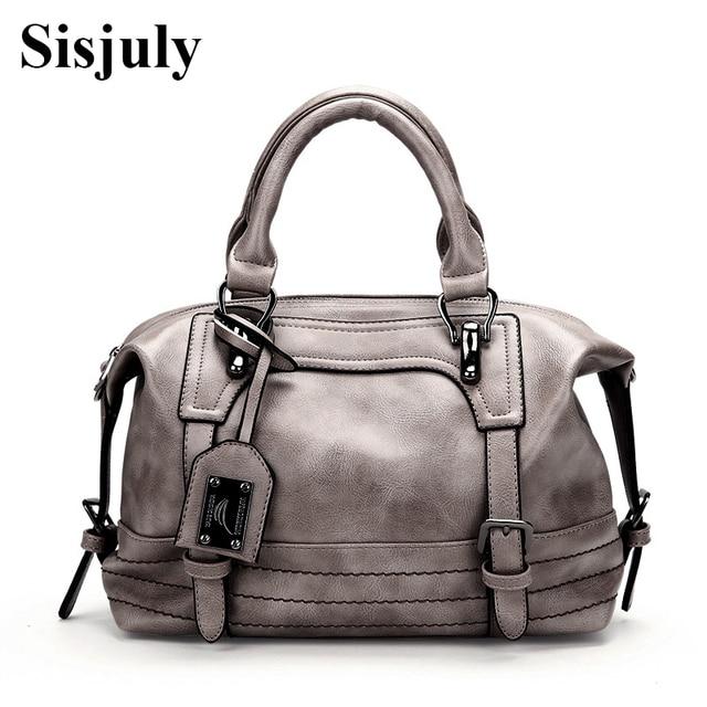 SISJULY Famous Designer Boston Handbag Women Large Capacity Tote Crossbody  Bag Ladies Designer Pu Leather Women Bags Female Sac 1457b87f5a