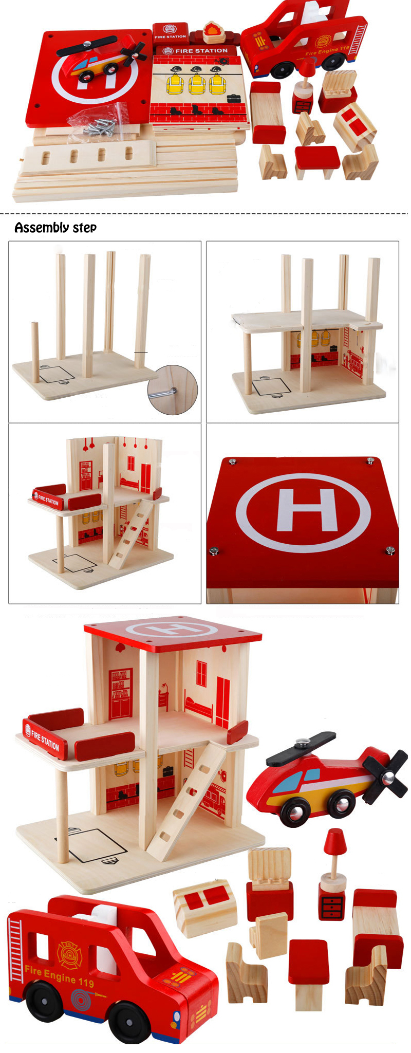 Fire Station Police Station Post Office Wooden Toy Set Wooden Track Build Blocks Diy Role Playing Educational Toys For Children