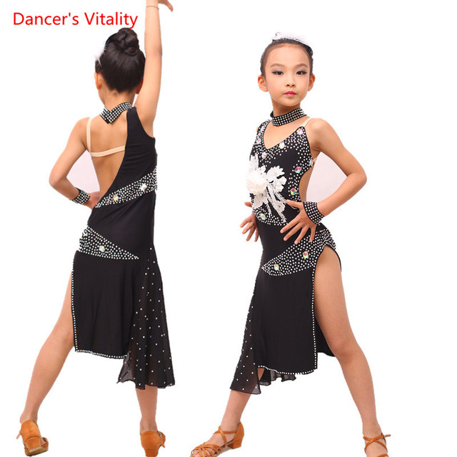 902c4fa8fcf2 Luxury Embroidery Diamond Latin Dance Dress Girls Dancing Performance  Competition Clothing Children Kids Ballroom Dance Costume