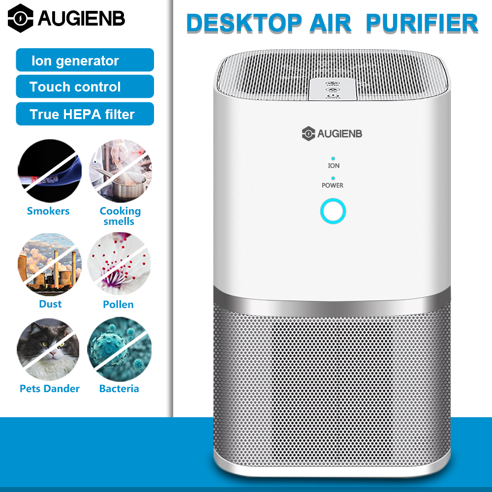 AUGIENB Air Purifier ionizer True Hepa Filter Odor Allergies Eliminator for Smokers Dust Mold Formaldehyde Home