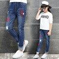 Девушки брюки 2017 Весенняя мода микки печати джинсы брюки для девочек брюки карандаш брюки дети 4-12 лет дети брюки