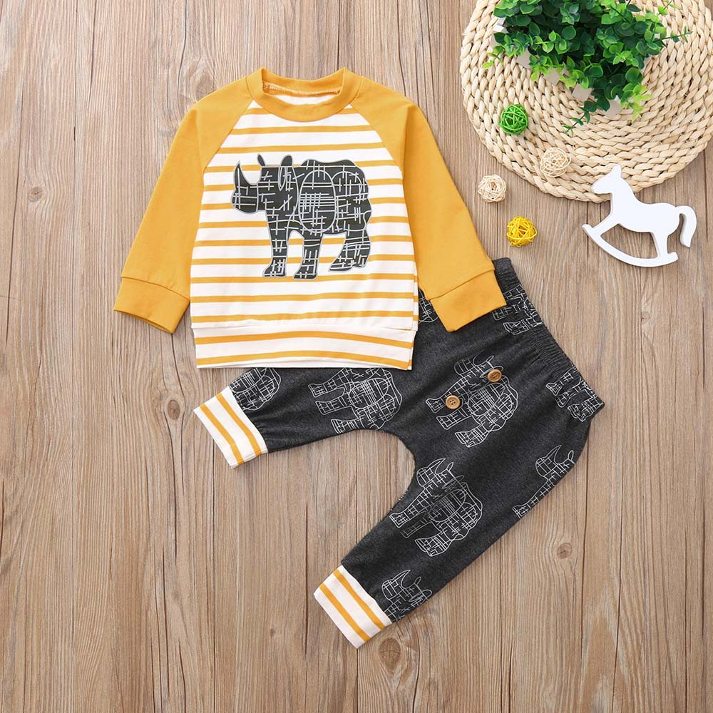 Toddler Baby Girl Long Sleeves Print Stripe Top+Pants Outfit Kids Clothing Sets Casual wear 2018 New Dropshipping#30 grey stripe long sleeves slit hem longline cardigan page 9