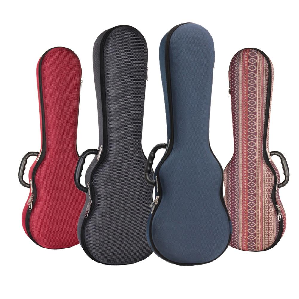 Ukulele Hard Box Case Bag Light Weight Soprano Concert Tenor 21 23 26 Inch Ukelele Gray Red Blue Guitar Accessories Parts Gig 21 soprano ukulele ukulele gig bag case 600d water resistant nylon hand strap 20 12