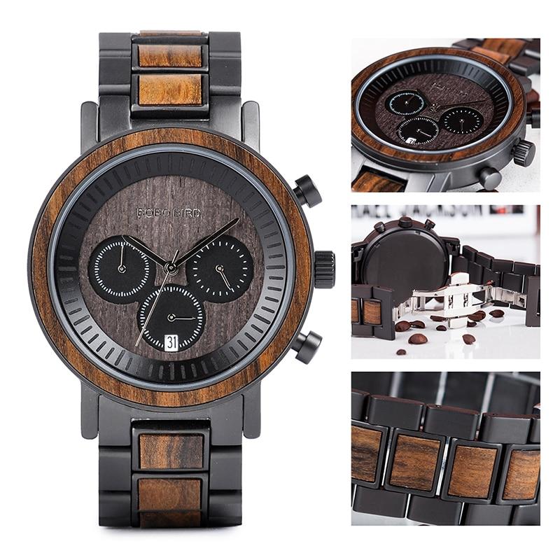 BOBO BIRD Stainless Steel Wooden Watch Chronograph Men Sport Waterproof Military Watches Relogio Masculino