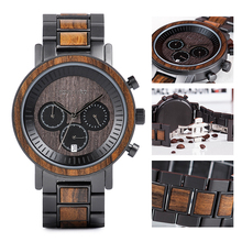 BOBO BIRD Stainless Steel Wooden Watch Chronograph Men Sport Waterproo