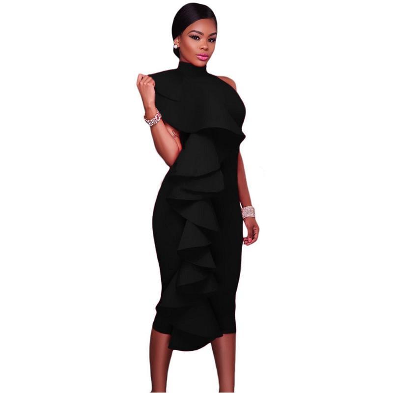 ADEWEL 2017 Women Big Ruffles Midi Elegant Dress Sexy Open Back Bodycon Party Dress High Neck Vintage Pencil Dress 17