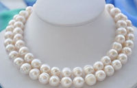 10 11MM NATURAL SOUTH SEA WHITE BAROQUE PEARL NECKLACE NEW