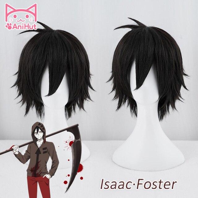 【AniHut】Zack peruk Anime melekler ölüm Cosplay peruk sentetik 30cm siyah erkekler saç Zack Isaac koruyucu melekler ölüm cosplay saç
