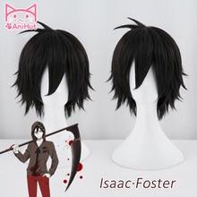 【Anihut】 Zack peruka Anime anioły śmierci peruka do Cosplay syntetyczny 30cm czarnych mężczyzn włosy Zack Isaac Foster anioły śmierci Cosplay włosy