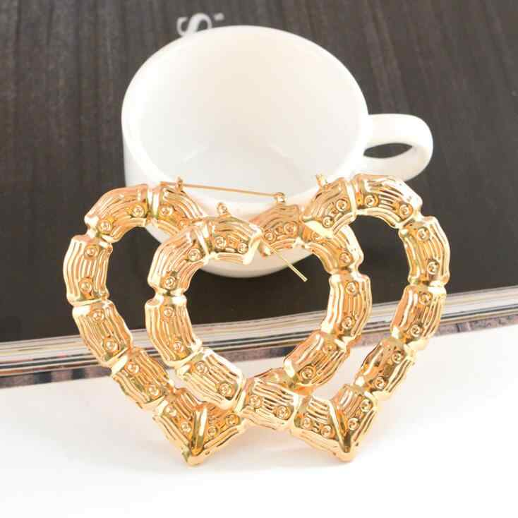 High Quality Celebrity Large Basketball Wives Cool Hoop Earring Heart Star Bamboo Big Hoop Earrings For Women Fashion Jewelry