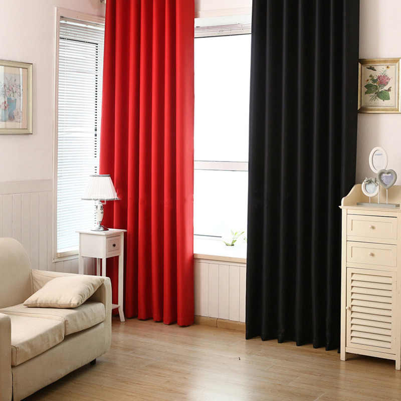 European Solid thick red black blackout window treatment curtains for  living room bedroom home decoration panel eyelet drapes