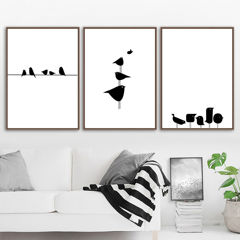 Canvas Painting Posters And Prints Black White Bird Line Wall Art Kids Room Nordic Poster Wall Pictures For Living Room Decor