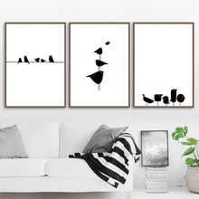 Canvas Painting Posters And Prints Black White Bird Line Wall Art Kids Room Nordic Poster Wall Pictures For Living Room Decor блуза mango mango ma002eweqqz2