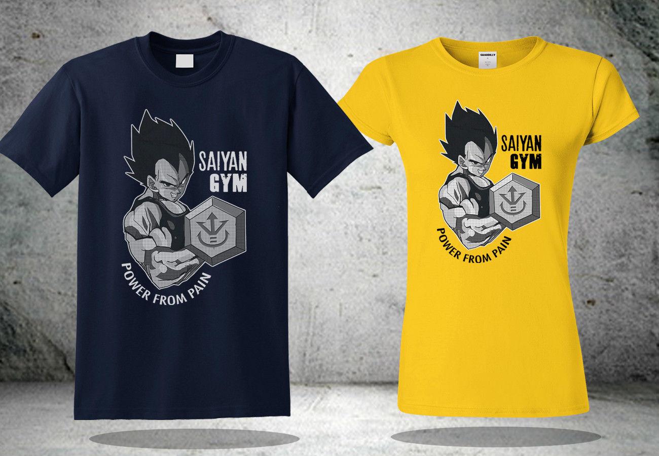 Vegeta Saiyan Gym Dragon Ball Goku T-Shirt Navy&Yellow Inspried Shirt New Free shipping  Harajuku Tops Fashion Classic Unique