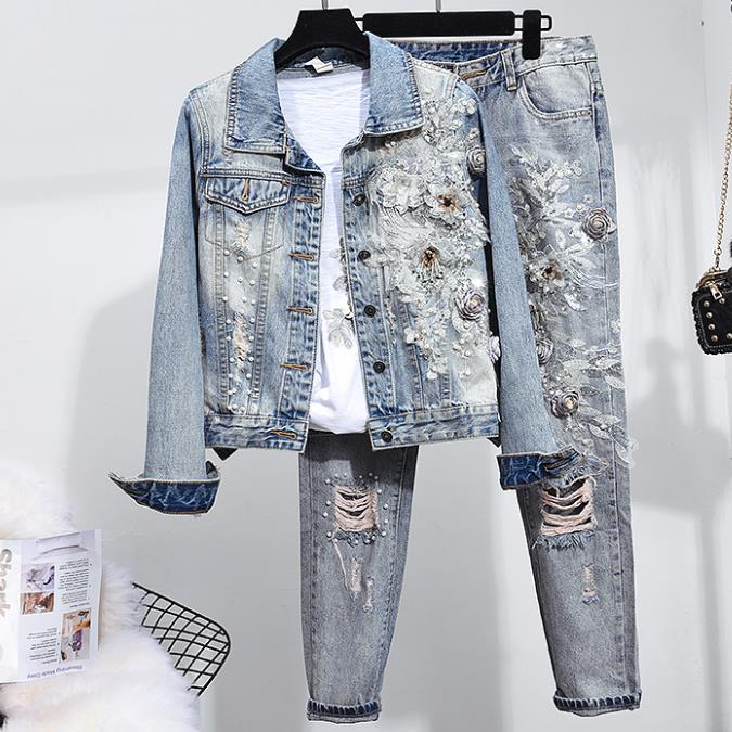 Spring Autumn New Fashion Women Heavy Work Beaded Embroidery  Long-sleeved Denim Jacket + Hole Beading Jeans Two Piece Sets