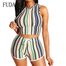 FUDA Two Pieces Sets Sexy Sleeveless Hooded Bodycon Bandage Short Pants Women Fashion Striped Tie Up Jumpsuits Combinaison Femme