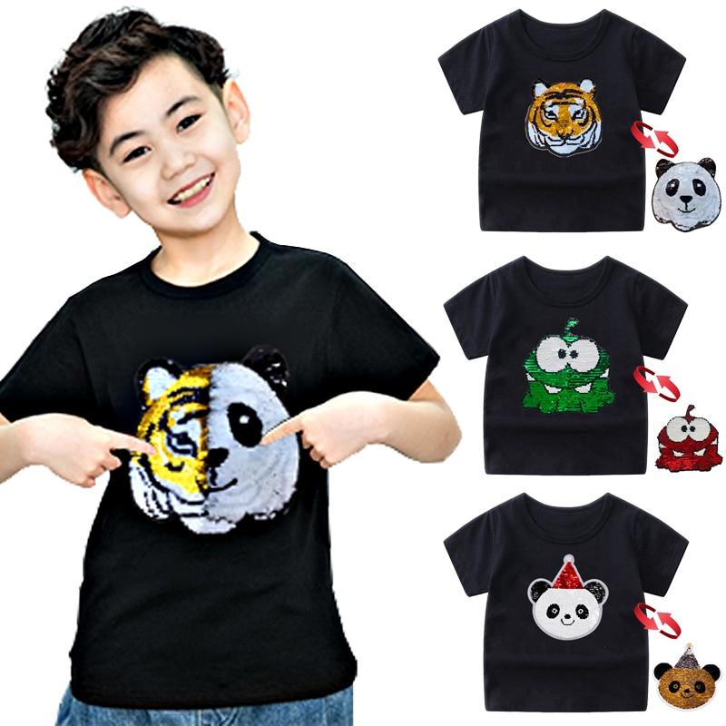 Panda Tiger Dinosaur Sequin Children T Shirt for Boys Tshirts Kids T Shirt Cartoon Print Summer Tops T-shirts for Baby Clothes 1