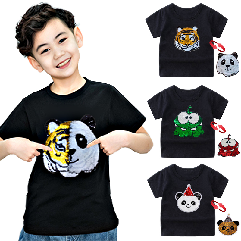 Panda Tiger <font><b>Dinosaur</b></font> Sequin Children T Shirt for Boys <font><b>Tshirts</b></font> Kids T Shirt Cartoon Print Summer Tops T-shirts for Baby Clothes image