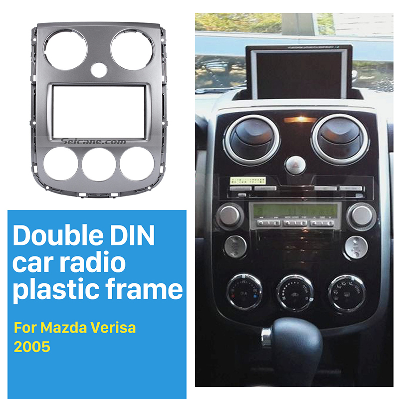 Seicane 2 Din Car Radio Fascia Installation Panel kit for 2005+ Mazda Verisa DVD Player Dash Mount Adaptor