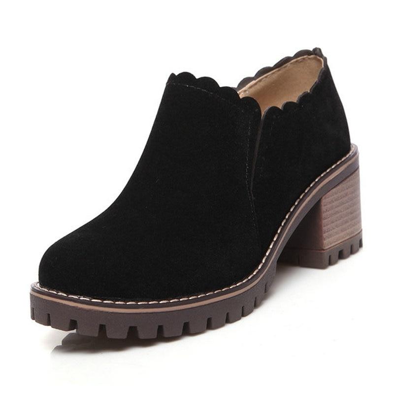Femme noir Beige Femelle Lady Orteils Concise Chaussures Printemps on Haute 43 Taille Automne Pompes Talons Slip Épais vert 34 Robe Rond Carrière Femmes XuiTwOkZP