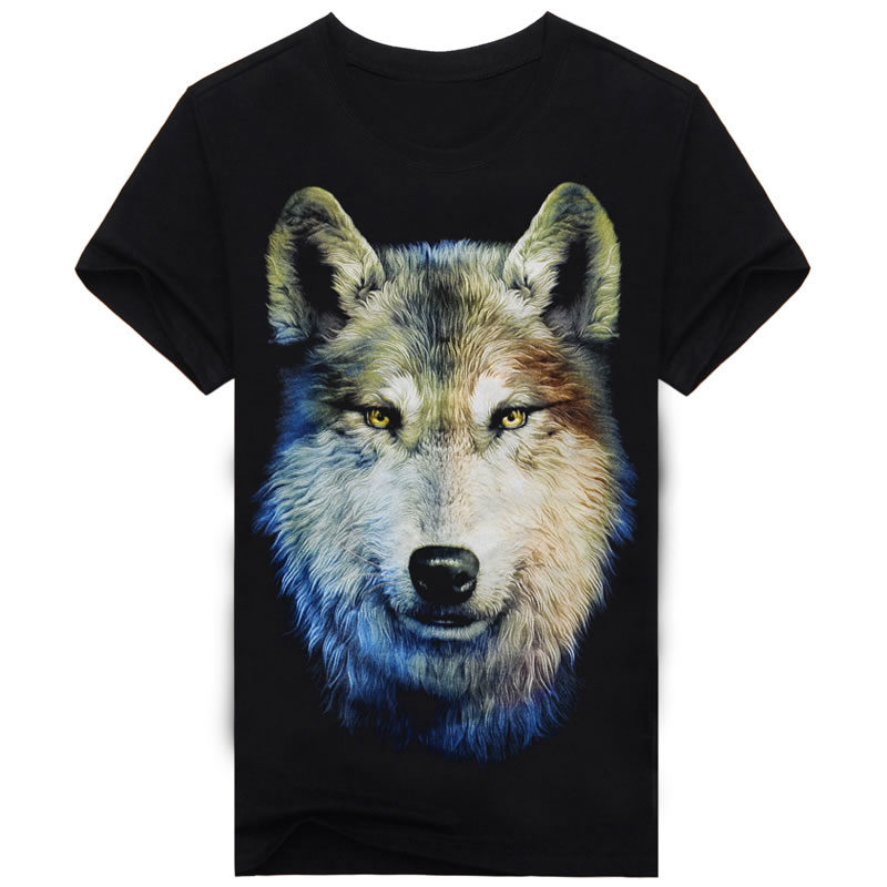 2017 New Brand Top Quality Summer Men's Cotton Short Sleeve T-shirt Fashion O-neck Casual Black Wolf 3d Print T shirt A148