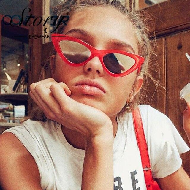 3c52b6576a STORY Cute Sexy Retro Cat Eye Sunglasses Women Small Black White 2018 Triangle  Vintage Cheap Sun