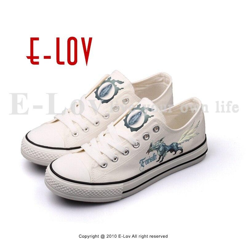 E-LOV COOL Printing Fantasy Game Canvas Shoes Hip Hop Women Girls Leisure Walking Shoes Low Top White Casual Flats e lov customize luminous canvas shoes graffiti libra horoscope casual flat shoes low top walking shoe for women