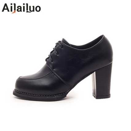 36d80989 Zapatos de tacón alto Oxford para las mujeres otoño talón grueso mujeres  bombas Zapatos Oxford de