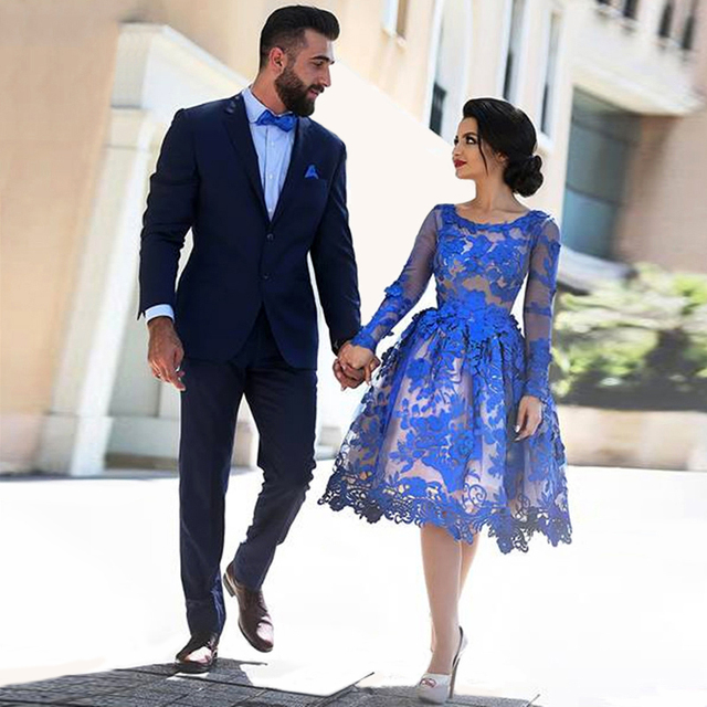 robe de cocktail Blue Tulle Appliques Lace Scoop A-Line Ruffle Knee Length Cocktail Dresses 2016 With Long Sleeves