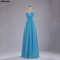 Jedno Ramię Suknie Druhna Light Blue Szyfonu Sequined Beade Dziewczyna Sukienka na Wesele Party Długie Sukienki Formalne Kobiety Suknia