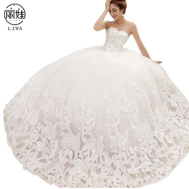 98f11565b Diamante de lujo vestido de Bola de Vestidos de Novia de Encaje Sin Tirantes  de la