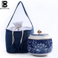 Jingdezhen Blue and White Porcelain Kung Fu Tea Set Tea Caddy Ceramic Tea Cans Sealed Storage Canister Kitchen Accessories Decor