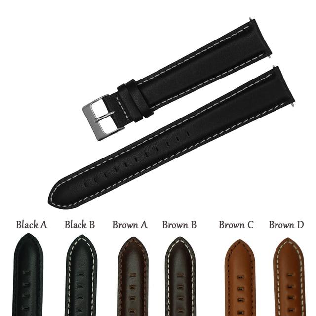 Correa de reloj de cuero genuino italiano, banda de reloj de 18mm, 20mm, 22mm y 24mm, correa de reloj negra y marrón claro, Correa Extra larga para muñeca grande