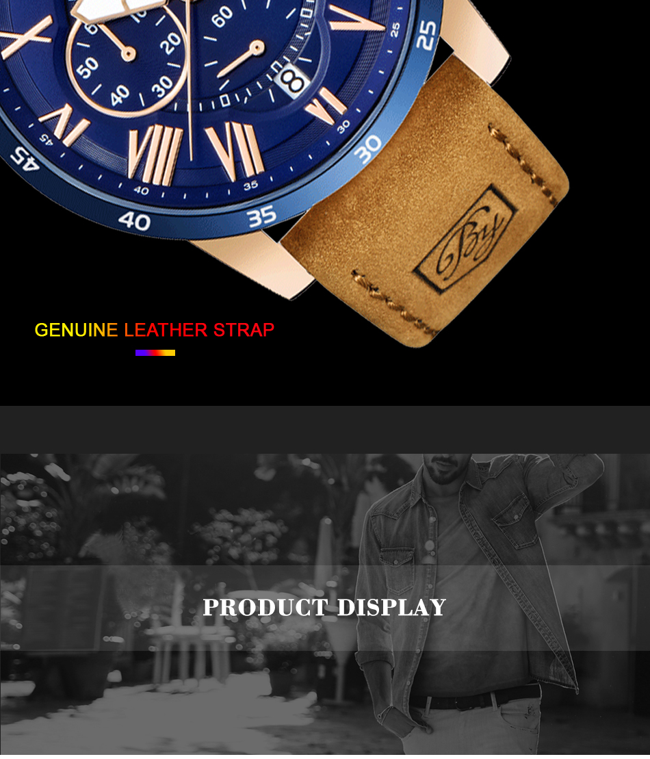 HTB1hZESRr2pK1RjSZFsq6yNlXXaw 2019 Top Luxury Brand BENYAR Fashion Blue Watches Men Quartz Watch Male Chronograph Leather WristWatch Relogio Masculino