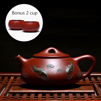 Free Shipping 200ML Yixing Purple Clay teapot famous pure handmade Raw ore Dahongpao stone scoop color painted Tea Pot Teaware