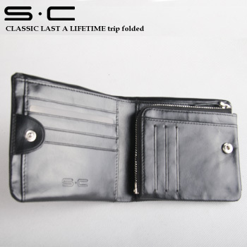 Distribute new S.C  Brand Wallet in triple 100% cow leather man wallet with 10 credit card slot Man Leather WalletFree Shipping