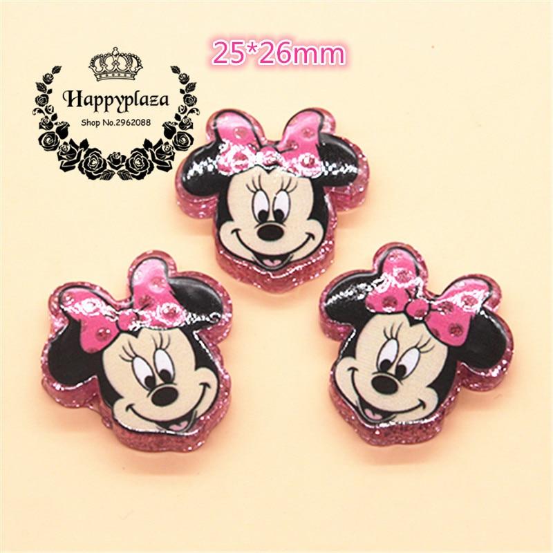 10pcs Kawaii Resin Glitter Pink/Hot Pink Minnie Flatback Cabochon DIY Hair Bow Center Scrapbooking Craft,25*26mm