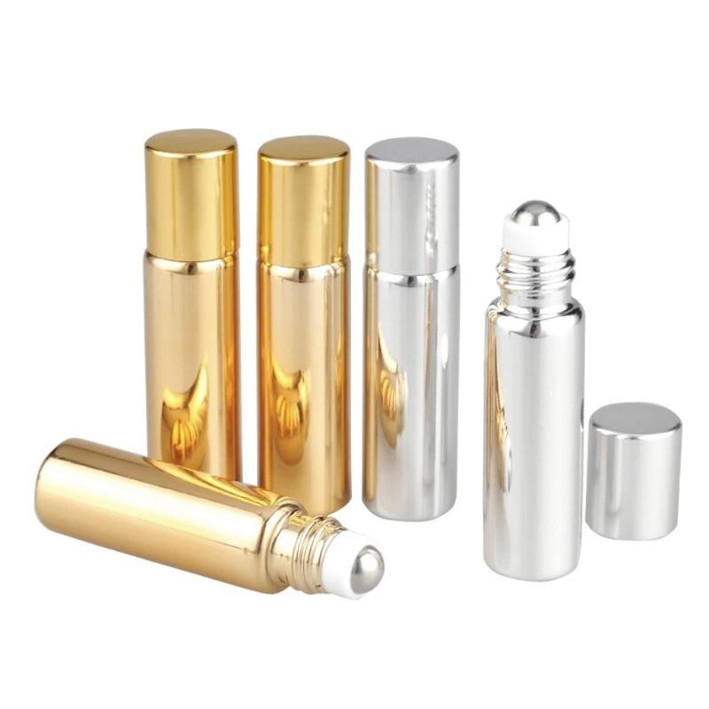 5ml/10ml Mini Glass Bottle Empty Essential Oil Perfume Roller Ball Refillable Portable Gold/Silver New