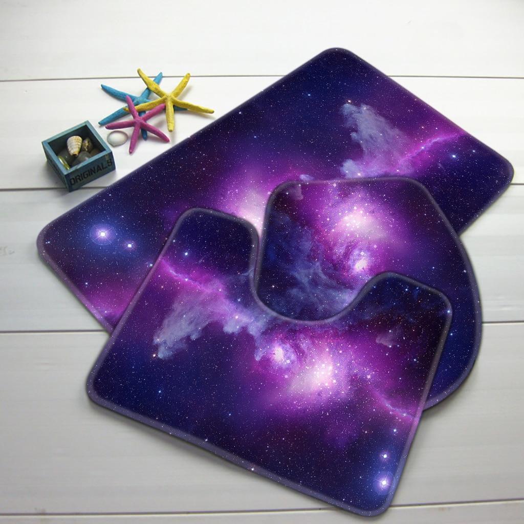 Badematten Lila 3 stücke badezimmer mat set galaxy raum lila sternenhimmel muster