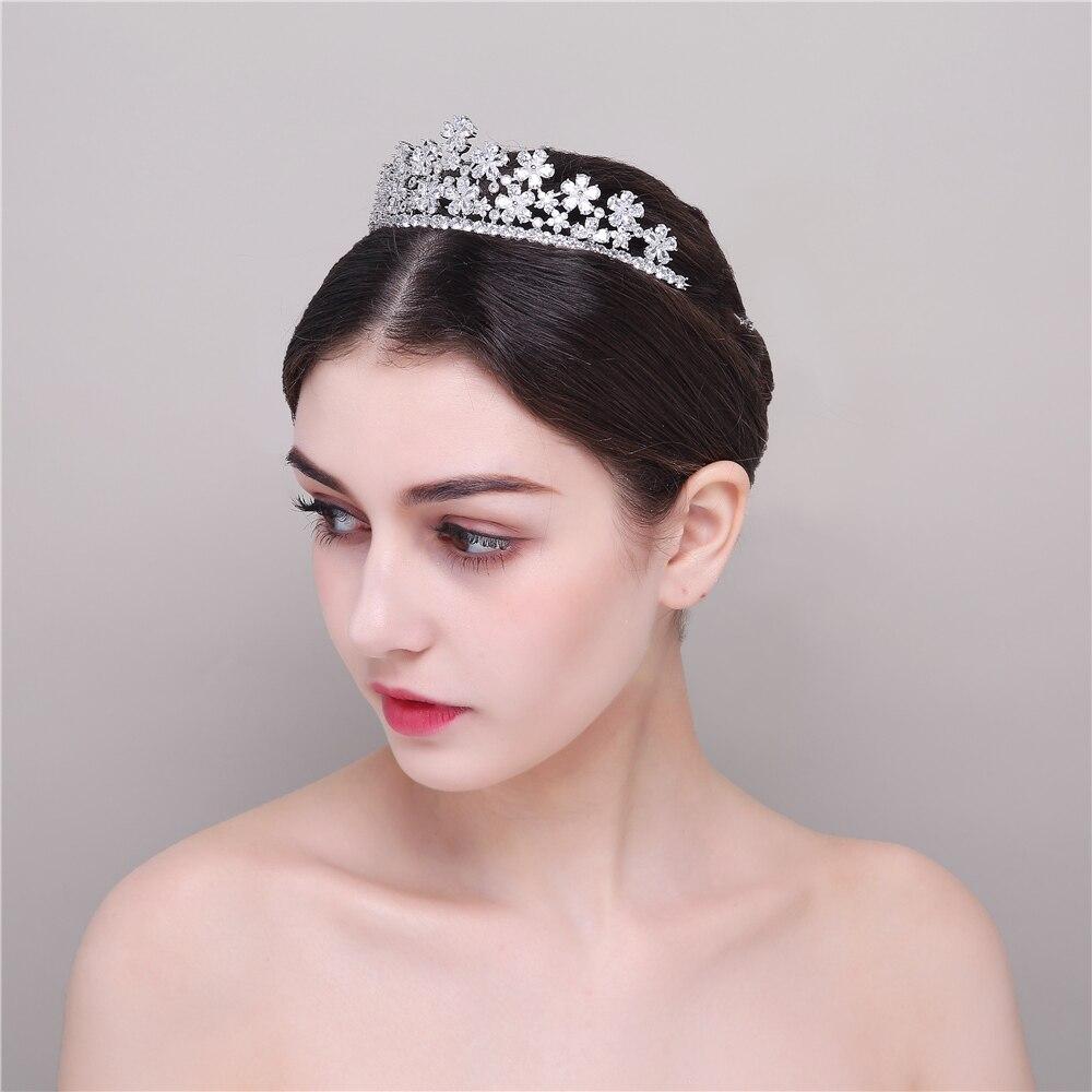 Full Zircon AAA Clear Cubic Zirconia Pear-Cut CZ Flower Shape Princess Wedding Tiaras Crown Brides Coronet Hairband Hair Jewelry