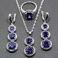 Wedding Jewelry Set  Purple Amethyst 925 Sterling Silver For Women Earrings/Pendant/Necklace Chain/Ring Free Jewelry Box TZ156