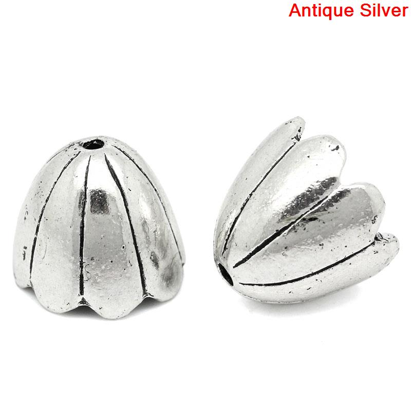 DoreenBeads Zinc Metal Alloy Beads Caps Flower Antique Silver(Fits 20mm Beads)Stripe Pattern 17mm(5/8