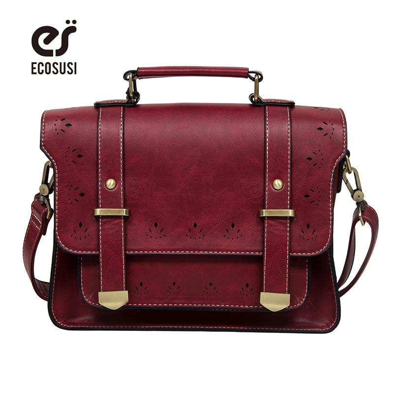 ECOSUSI 2017 New Women PU Leather Messenger Bag Vintage Women Satchel Bag Leather Briefcase Handbag Bag