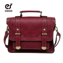 ECOSUSI 2017 New Women PU Leather Messenger Bag Vintage Women Satchel Bag Leather Briefcase Handbag Bag