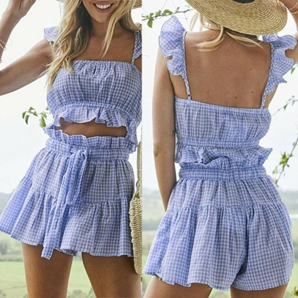 fashion-women-checkerboard-2-piece-set-ruffles-shorts-off-shoulder-tank-crop-top-hot-shorts-summer-bandge-gingham-clothings