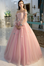 Smileven Evening Dress Puff Sleeves 3D Flowers Pink Evening Party Prom Dress Sexy Off The Shoulder Party Prom Gowns pink off the shoulder bat sleeves mini dress
