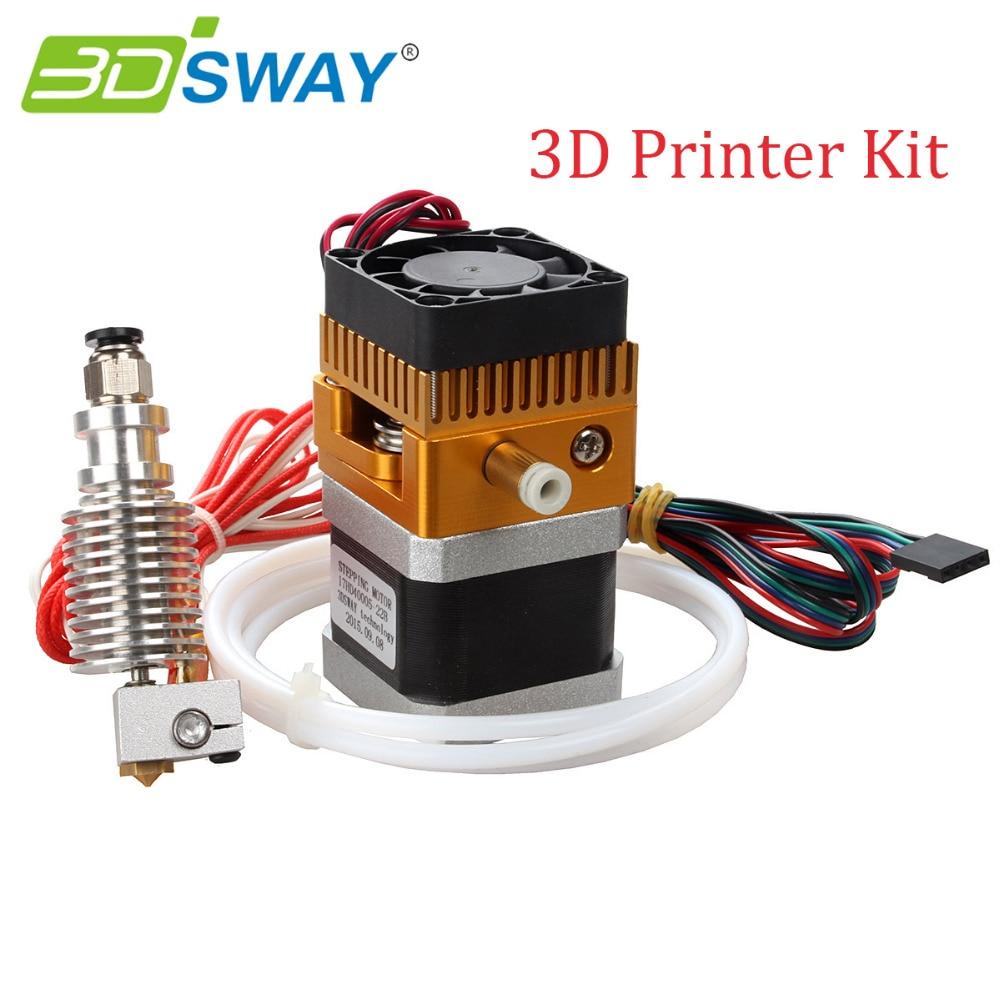 3DSWAY 3D Printer Kit MK8 Extruder with Teflon 3D V6 Hotend Kit for 0.2/0.3/0.4/0.5mm 1.75mm For Reprap prusa i3 Makerbot 50pcs lot new reprap 3d printer m6 26 printer nozzle throat with teflon tube for 1 75mm or 3 0mm for e3d v5
