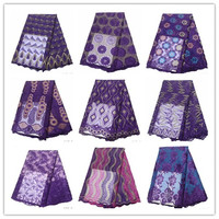 2019 French Lace Fabric Purple Wedding High Quality African Tulle Lace Fabric 5Yard Purple Embroidered Tulle Lace fabric